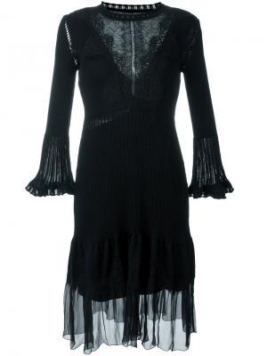 Расклешенное платье с кружевной вставкой Alberta Ferretti. Цвет: чёрный