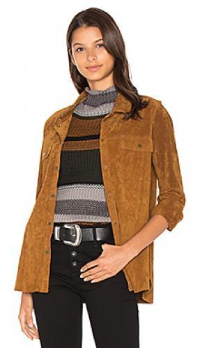Бархатная замшевая куртка Sanctuary. Цвет: коричневый