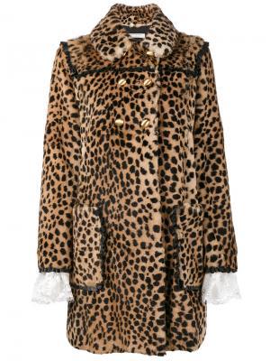 Двубортное леопардовое пальто Philosophy Di Lorenzo Serafini. Цвет: коричневый