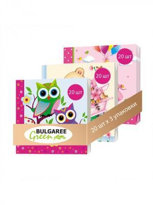 Набор Мультяшки из 3 упаковок трехслойных салфеток с ярким принтом, 3х20шт Bulgaree Green. Цвет: розовый