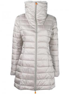 Faux fur collar padded coat Save The Duck. Цвет: телесный