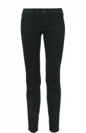 Замшевые укороченные брюки-скинни Rag&Bone. Цвет: оливковый