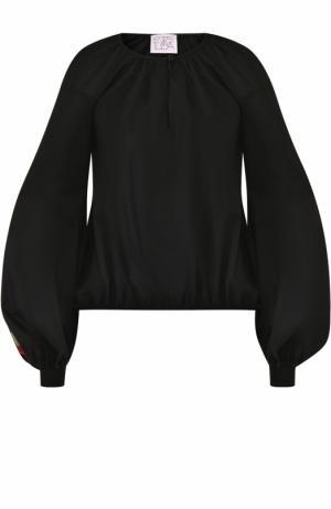 Хлопковый топ с длинными декорированным рукавами Stella Jean. Цвет: черный