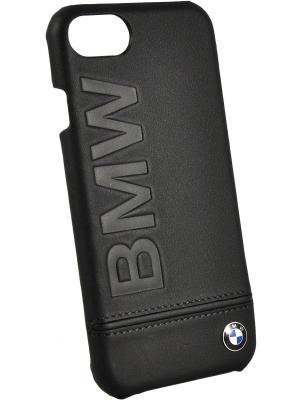 Чехол BMW для iPhone 7 Signature Logo imprint Hard Leather Black. Цвет: черный