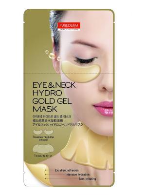 Гидрогелевая маска для  области глаз 2 в 1, г и шеи с золотом 9 Purederm. Цвет: золотистый