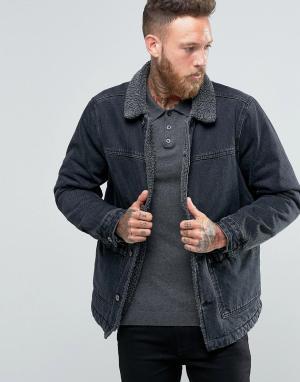 ASOS Черная выбеленная джинсовая куртка с подкладкой из искусственного меха. Цвет: черный