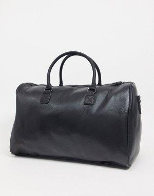 Черная спортивная сумка из искусственной кожи с тисненым логотипом -Черный ASOS Unrvlld Spply