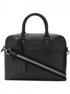 Pebbled laptop bag Polo Ralph Lauren. Цвет: черный