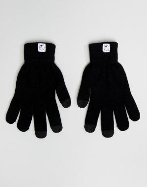 Перчатки с отделкой для пользования сенсорным экраном 7X. Цвет: черный