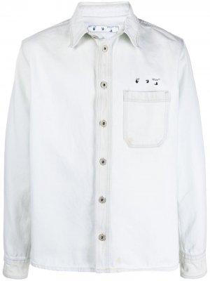 Джинсовая куртка с логотипом Arrow Off-White. Цвет: белый