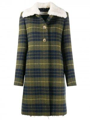 Клетчатое пальто с воротником из овчины Golden Goose. Цвет: зеленый