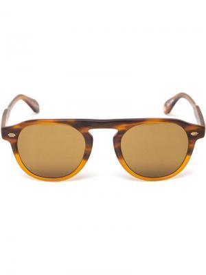 Матовые солнцезащитные очки в круглой оправе Garrett Leight. Цвет: коричневый