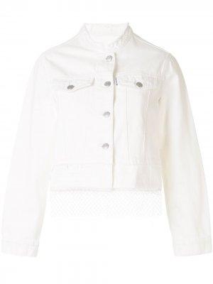 Многослойная джинсовая куртка с бахромой PortsPURE. Цвет: белый
