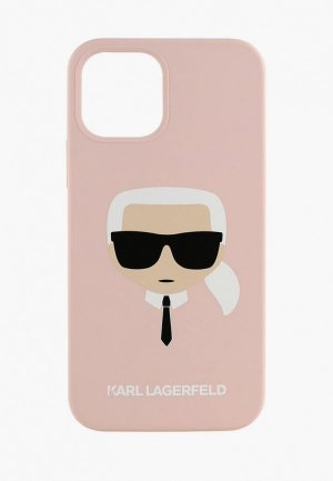 Чехол для iPhone Karl Lagerfeld 12 Pro Max (6.7), Liquid silicone Karls Head Pink. Цвет: розовый