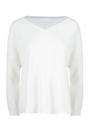 Белый шерстяной пуловер с серебристым вырезом Fabiana Filippi. Цвет: белый
