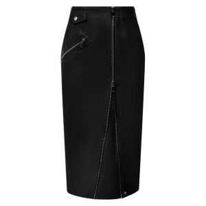 Кожаная юбка Alexander McQueen. Цвет: чёрный