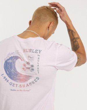 Розовая футболка -Черный Hurley