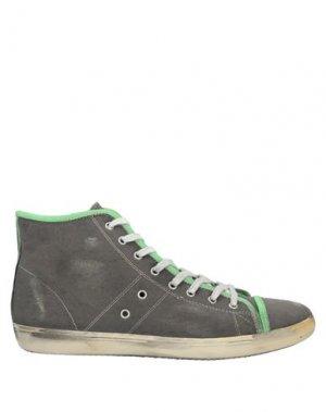 Высокие кеды и кроссовки LEATHER CROWN. Цвет: серый