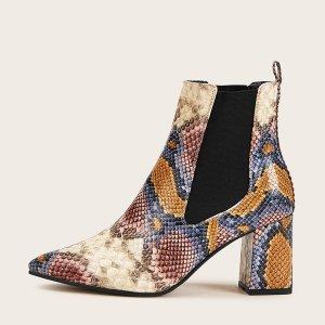 Женские Ботинки Челси На Толстом Каблуке С Принтом Змеиная Кожа SHEIN. Цвет: многоцветный