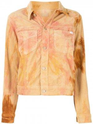 Джинсовая куртка с принтом тай-дай MOTHER. Цвет: оранжевый