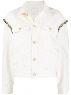 Джинсовая куртка со стразами Sandro Paris. Цвет: нейтральные цвета