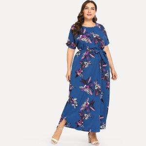 Большое ситцевое платье SHEIN. Цвет: синий
