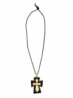 Колье 1990-х годов с подвеской-крестом Christian Lacroix Pre-Owned. Цвет: черный
