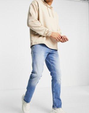 Прямые суженные книзу светлые выбеленные джинсы 3301-Голубой G-Star