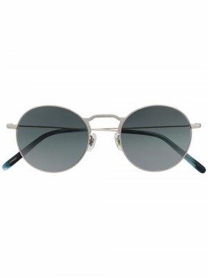 Солнцезащитные очки Weslie в круглой оправе Oliver Peoples. Цвет: серебристый