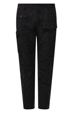 Хлопковые брюки Dsquared2. Цвет: черный