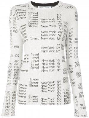 Жаккардовый пуловер с круглым вырезом Proenza Schouler White Label. Цвет: белый