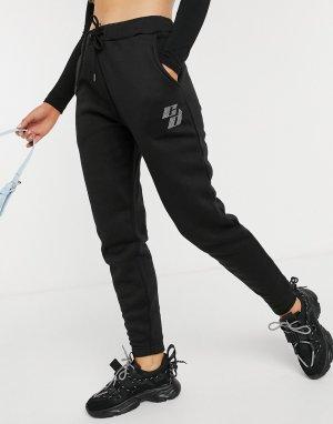 Черные джоггеры в стиле oversized с логотипом из стразов -Черный цвет Criminal Damage