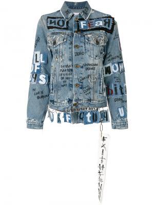 Джинсовая куртка с отделкой в стиле граффити Faith Connexion. Цвет: синий