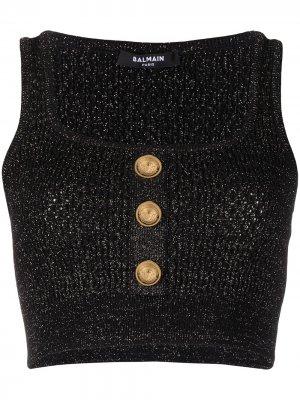 Укороченный топ с блестками Balmain. Цвет: черный