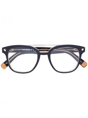 Очки в круглой оправе Dsquared2 Eyewear. Цвет: коричневый