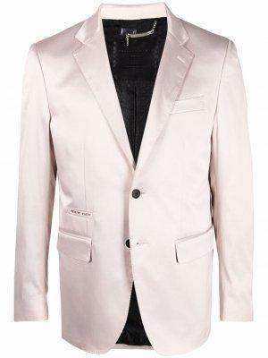 Однобортный атласный пиджак Philipp Plein. Цвет: нейтральные цвета