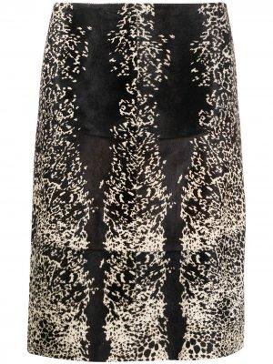 Юбка А-силуэта с анималистичным принтом Alaïa Pre-Owned. Цвет: черный