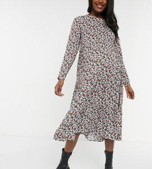 Платье миди с ярусной юбкой и разноцветным цветочным принтом -Многоцветный Pieces Maternity