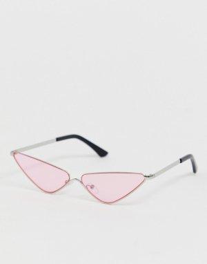Розовые солнцезащитные очки кошачий глаз без оправы AJ Morgan. Цвет: розовый