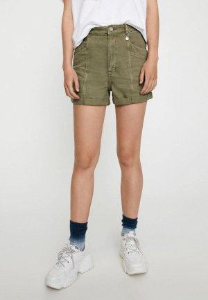Шорты джинсовые Pull&Bear. Цвет: хаки