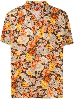 Рубашка с короткими рукавами и цветочным принтом Daniele Alessandrini. Цвет: желтый