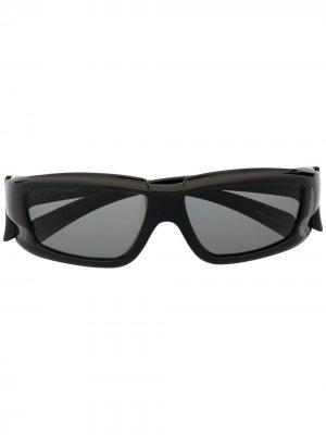 Солнцезащитные очки в прямоугольной оправе Rick Owens. Цвет: черный
