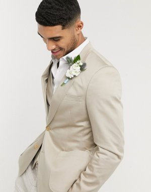 Светло-бежевый облегающий хлопковый блейзер wedding ASOS DESIGN