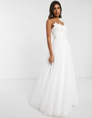 Свадебное платье с 3D вышивкой на лифе -Белый ASOS EDITION