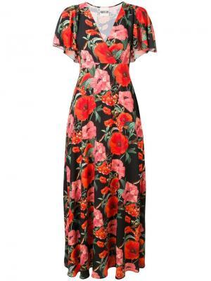 Длинное платье с цветочным принтом Aniye By. Цвет: черный
