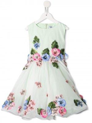 Платье с нашивками Lesy. Цвет: зеленый