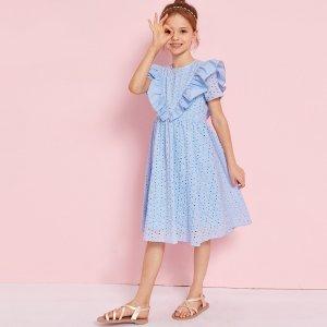Платье с оборками для девочек SHEIN. Цвет: нежно-голубой