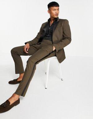 Коричневые брюки скинни под смокинг -Коричневый цвет ASOS DESIGN