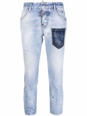 Укороченные брюки с контрастным карманом Dsquared2. Цвет: синий