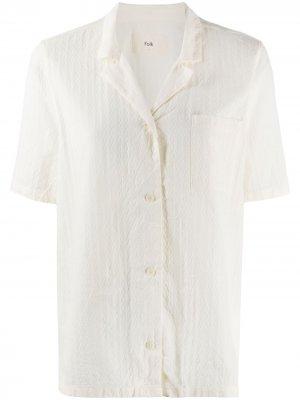 Фактурная рубашка с короткими рукавами Folk. Цвет: белый